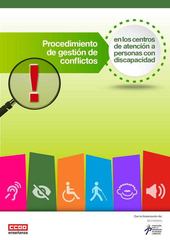 Portada del folleto informativo sobre los Procedimientos de gestión de conflictos en los centros de atención a personas con discapacidad