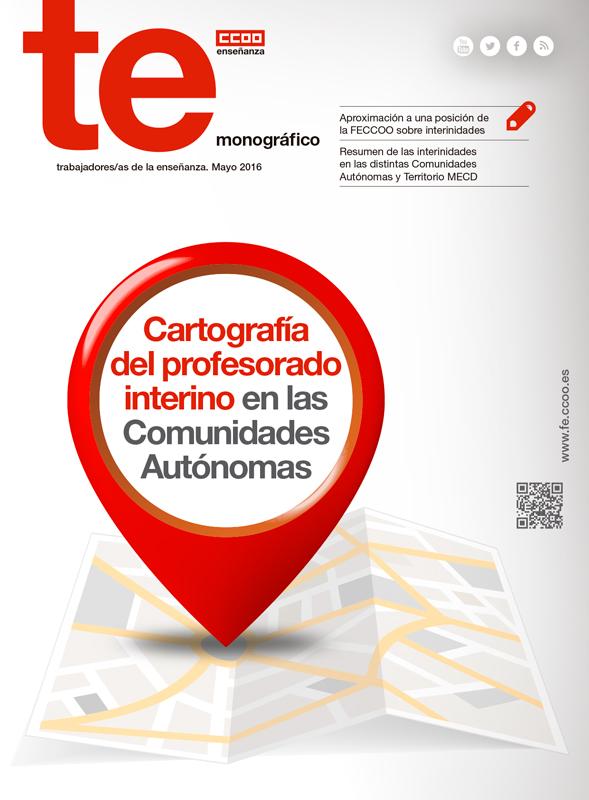 """Portada del monográfico TE sobre """"Cartografía del profesorado interino en las Comunidades Autónomas"""""""