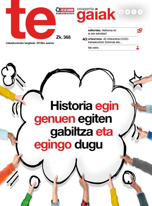 Revista realizada para la Federación de Enseñanza de Euskadi de CCOO.